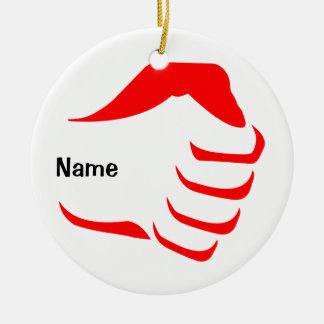 Ornamento vertical del puño adorno navideño redondo de cerámica