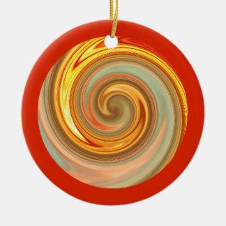 Ornamento vibrante del círculo del fractal del adorno navideño redondo de cerámica