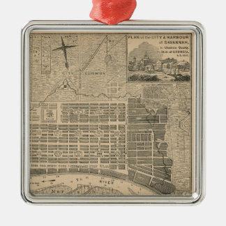 Ornamento viejo del mapa de la sabana adorno navideño cuadrado de metal
