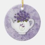 Ornamento violeta de la tetera adorno de navidad
