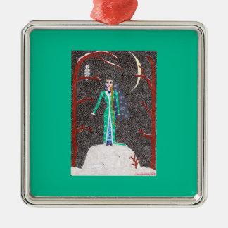 Ornamento virginal de la nieve - cuadrado superior adorno cuadrado plateado