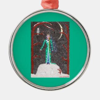 Ornamento virginal de la nieve - ronda superior adorno redondo plateado