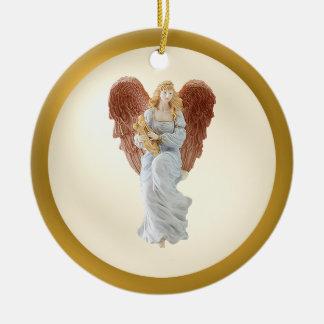 Ornamento vivo del ángel de la hermana adorno navideño redondo de cerámica
