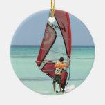Ornamento Windsurfing Adorno Navideño Redondo De Cerámica