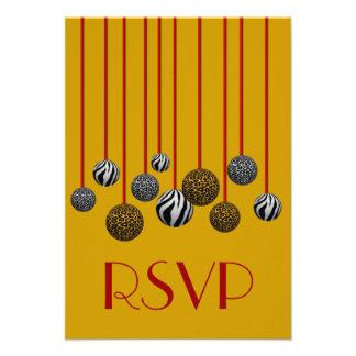 Ornamentos adaptables del leopardo y de la cebra invitación