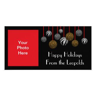 Ornamentos adaptables del leopardo y de la cebra tarjeta con foto personalizada