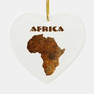 Ornamentos africanos del arte de Heart_Holiday del Adorno Navideño De Cerámica En Forma De Corazón