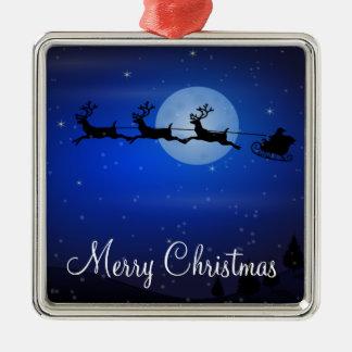 Ornamentos al aire libre del navidad - Santa y Adorno Cuadrado Plateado
