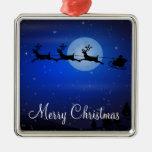 Ornamentos al aire libre del navidad - Santa y ren Adornos