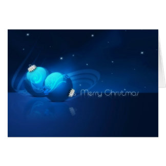 Ornamentos azules de las Felices Navidad Tarjeta De Felicitación