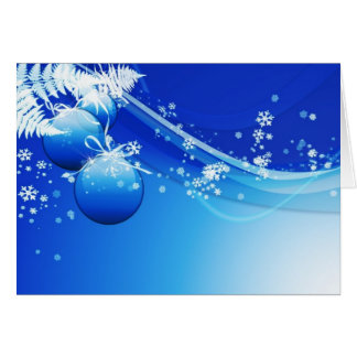 Ornamentos azules del árbol de navidad tarjeta de felicitación