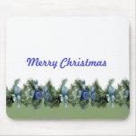 Ornamentos azules del navidad de lujo tapete de raton
