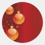 Ornamentos brillantes del navidad pegatina redonda