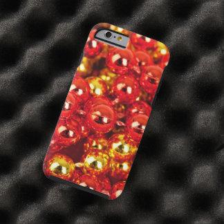 Ornamentos brillantes del navidad - rojo del oro funda de iPhone 6 tough