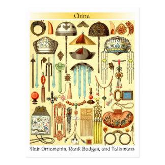 Ornamentos chinos del pelo, insignias espesas, y t postal