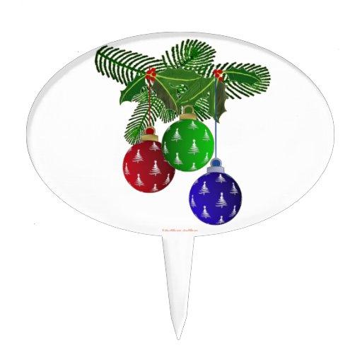 Ornamentos coloridos del árbol de navidad decoración para tarta