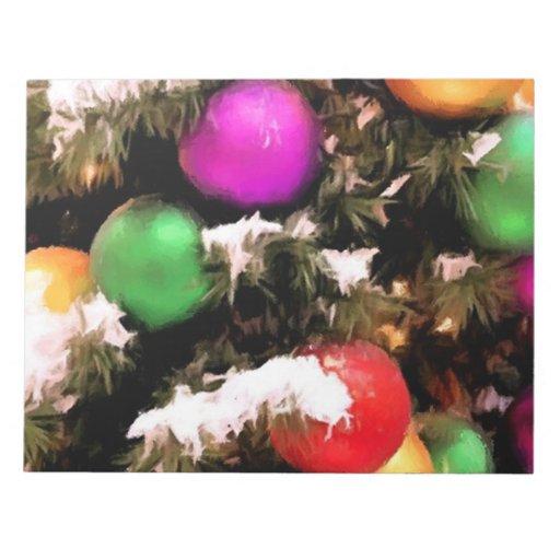 Ornamentos coloridos del día de fiesta del árbol d bloc de notas
