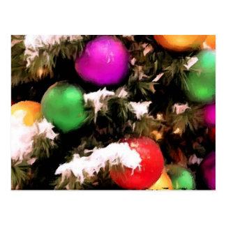 Ornamentos coloridos del día de fiesta del árbol tarjetas postales