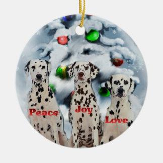 Ornamentos dálmatas de los regalos del navidad ornato