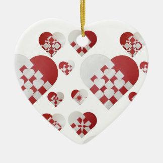 Ornamentos daneses de los corazones del navidad adorno de navidad