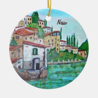 Ornamentos de Como del lago Adorno Navideño Redondo De Cerámica