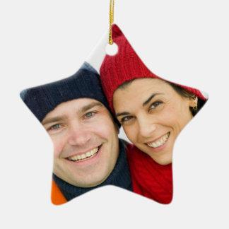 Ornamentos de encargo del navidad de la foto adorno de cerámica en forma de estrella