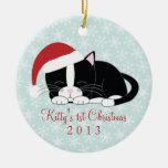 Ornamentos de encargo del navidad del gato del adorno navideño redondo de cerámica