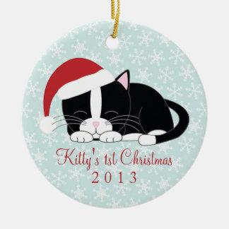Ornamentos de encargo del navidad del gato del smo ornatos