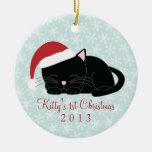 Ornamentos de encargo del navidad del gato negro adorno navideño redondo de cerámica