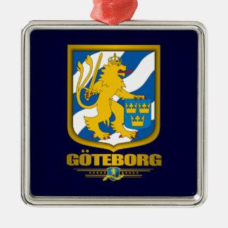 """Ornamentos de """"Goteborg (Gothenburg)"""" Adorno Navideño Cuadrado De Metal"""