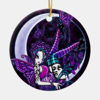 Ornamentos de hadas del arte del tatuaje gótico de adorno navideño redondo de cerámica