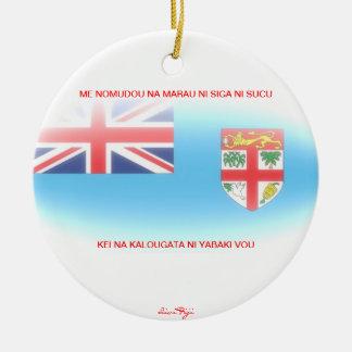 Ornamentos de la bandera de Fiji Adorno Navideño Redondo De Cerámica