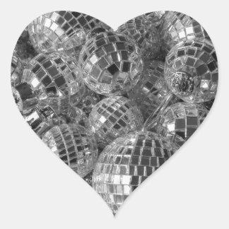 Ornamentos de la bola de discoteca pegatina en forma de corazón