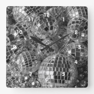 Ornamentos de la bola de discoteca reloj cuadrado