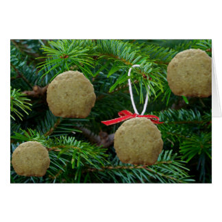 Ornamentos de la bola del Matzoh en el árbol de Tarjeta De Felicitación