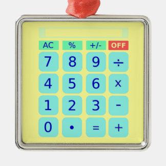 Ornamentos de la calculadora adorno cuadrado plateado