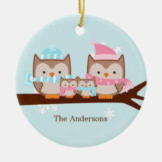 Ornamentos de la familia del búho adorno de navidad