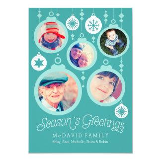 """Ornamentos de la familia del navidad invitación 5"""" x 7"""""""