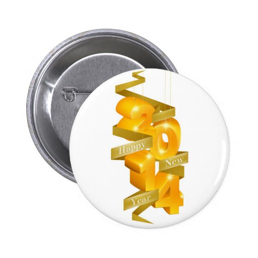 Ornamentos de la Feliz Año Nuevo 2014 Pin Redondo 5 Cm