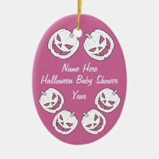 Ornamentos de la fiesta de bienvenida al bebé de adorno navideño ovalado de cerámica
