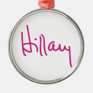 Ornamentos de la firma de Hillary Clinton Adorno Navideño Redondo De Metal