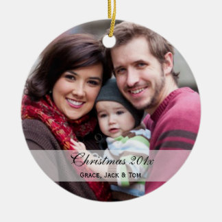 Ornamentos de la foto de familia adorno redondo de cerámica