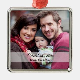 Ornamentos de la foto de familia adorno cuadrado plateado