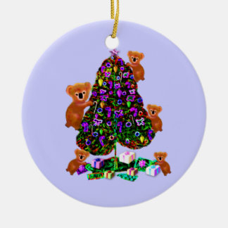 Ornamentos de la mañana de navidad de las koalas adorno redondo de cerámica