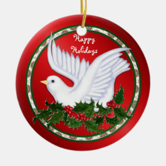 Ornamentos de la paloma y del acebo ornamentos de navidad