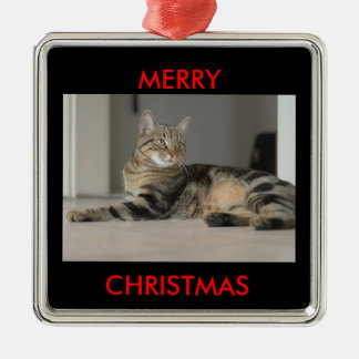Ornamentos de las Felices Navidad del gato Adorno Navideño Cuadrado De Metal