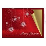 Ornamentos de las Felices Navidad y oro y rojo de