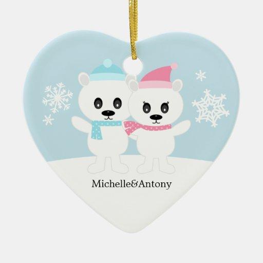 Ornamentos de los pares del oso polar ornamentos de navidad