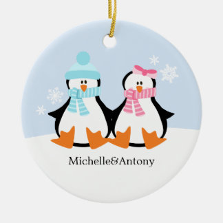 Ornamentos de los pares del pingüino ornaments para arbol de navidad