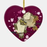 Ornamentos de Luv Birds~owl Adorno De Cerámica En Forma De Corazón